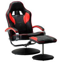 vidaXL Nastavljiv športni stol s stolčkom za noge rdeče umetno usnje