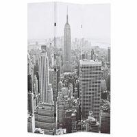 vidaXL Zložljiv paravan 120x170 cm New York podnevi črn in bel
