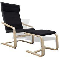 vidaXL Fotelj z okvirjem iz ukrivljenega lesa črno blago