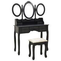 vidaXL Mizica za ličenje s stolčkom in tridelnim ogledalom črna