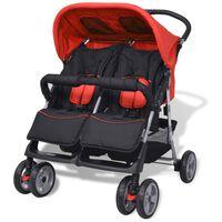 vidaXL Dvojni otroški voziček jeklo rdeč in črn