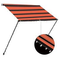 vidaXL Zložljiva tenda z LED lučmi 150x150 cm oranžna in rjava