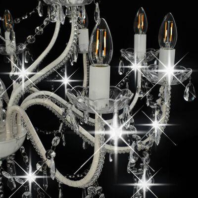 vidaXL Lestenec 2-nadstropni bel 15 x E14 žarnice