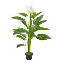 vidaXL Umetna rastlina flamingovec z loncem bela 115 cm