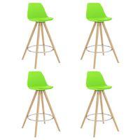 vidaXL Barski stolčki 4 kosi zeleni PP in trdna bukovina