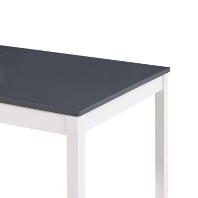 vidaXL Jedilna miza bela in siva 140x70x73 cm borovina