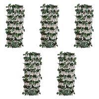 vidaXL Mrežasta ograja iz vrbe 5 kosov z umetnimi listi 180x30 cm