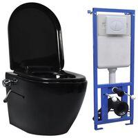vidaXL Viseča WC školjka brez roba z vgradnim kotličkom keramična črna