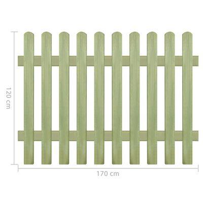 vidaXL Lesena ograja iz impregnirane borovine 170x120 cm 6/9 cm