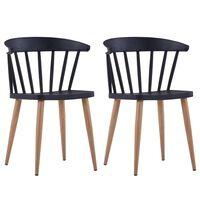 vidaXL Jedilni stoli 2 kosa črna plastika