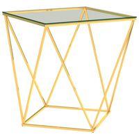 vidaXL Klubska mizica zlata in prozorna 50x50x55 cm nerjaveče jeklo