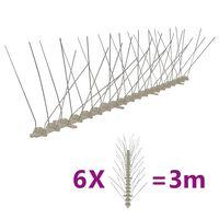 vidaXL Plastične bodice proti pticam in golobom 4-vrste 6 kosov 3 m