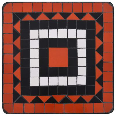 vidaXL Stranska mizica z mozaikom terakota in bela keramika