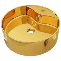 vidaXL Umivalnik z odprtino za odtekanje 46,5x15,5 cm keramičen zlat