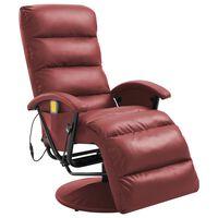 vidaXL Masažni TV fotelj vinsko rdeče umetno usnje
