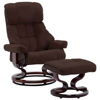 vidaXL Naslanjač s stolčkom za noge rjavo umetno usnje in les