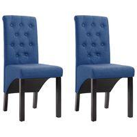 vidaXL Jedilni stoli 2 kosa modro blago