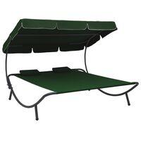 vidaXL Vrtni ležalnik s streho in vzglavniki zelen