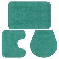 vidaXL Kopalniške preproge 3 kosi blago turkizne barve