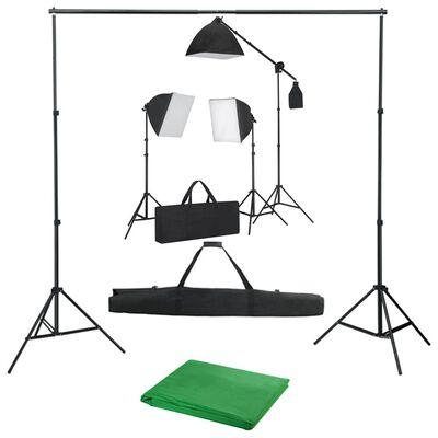 vidaXL Foto studijski komplet s softbox svetilkami in ozadjem