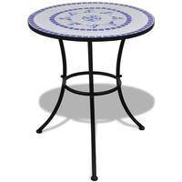 vidaXL Bistro miza modra in bela 60 cm mozaik