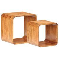 vidaXL Stranske mizice 2 kosa trden akacijev les s palis. finišem