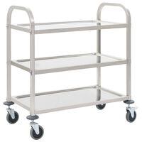 vidaXL Kuhinjski voziček 3-nadstropni 107x55x90 cm nerjaveče jeklo