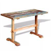 vidaXL Jedilna miza s podnožjem trden predelan les 120x58x78 cm