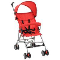 vidaXL Zložljiv otroški voziček jeklen rdeč