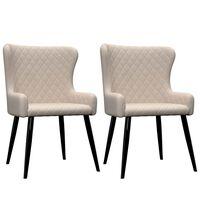 vidaXL Jedilni stoli 2 kosa krem blago