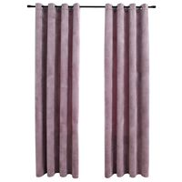 vidaXL Zatemnitvene zavese z obročki 2 kosa žamet roza 140x175 cm