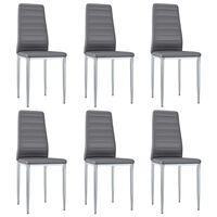 vidaXL Jedilni stoli 6 kosov sivo umetno usnje