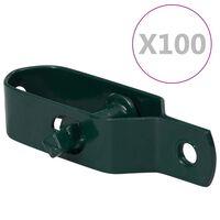 vidaXL Napenjalci žice 100 kosov 90 mm jeklo zelene barve