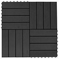 vidaXL Talne plošče 22 kosov 30x30 cm 2 m² WPC črne