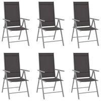 vidaXL Zložljivi vrtni stoli 6 kosov tekstil črni