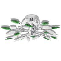 Stenska luč z belimi in zelenimi listi iz stekla za 3E1 žarnice