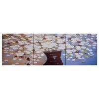 vidaXL Slika na platnu rože v vazi večbarvna 120x40 cm