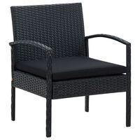 vidaXL Vrtni stol z blazino poli ratan črn