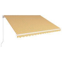 vidaXL Ročno zložljiva tenda 400x300 cm rumena in bela
