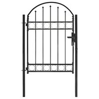 vidaXL Vrata za ograjo zaobljena jeklo 100x125 cm črna