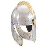 vidaXL Čelada Beowulf starinska kopija LARP srebrno jeklo
