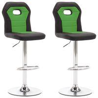 vidaXL Barski stolčki 2 kosa zeleno umetno usnje