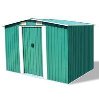vidaXL Vrtna skladiščna lopa zelena kovinska 257x105x178 cm