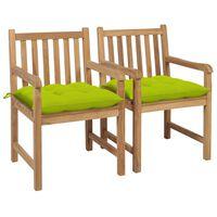 vidaXL Vrtni stoli 2 kosa s svetlo zelenimi blazinami trdna tikovina