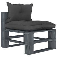 vidaXL Vrtni sredinski kavč iz palet s črnimi blazinami lesen