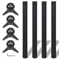 4 Noge za Mizo Nastavljiva Višina Črne Barve 710 mm