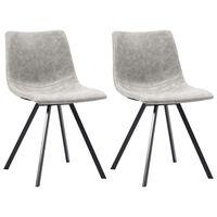 vidaXL Jedilni stoli 2 kosa svetlo sivo umetno usnje