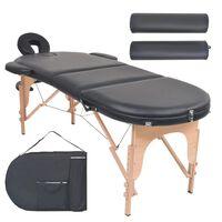vidaXL Zložljiva masažna miza debelina 4 cm z 2 blazinama ovalna črna