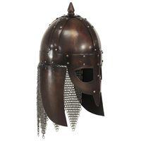 vidaXL Vikinška bojevniška čelada starinska kopija LARP bakreno jeklo