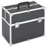 vidaXL Kovček za ličila 37x24x35 cm črn aluminij